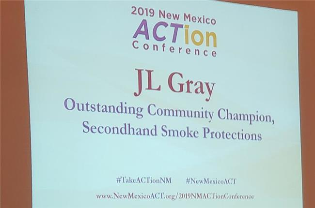 New Mexico Allied Council on Tobacco Presented JL Gray Outstanding Community Champion for Second Hand Smoke Protection